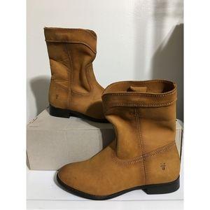 FRYE Boots Cognac Cara short Mid Calf Leather sz 6